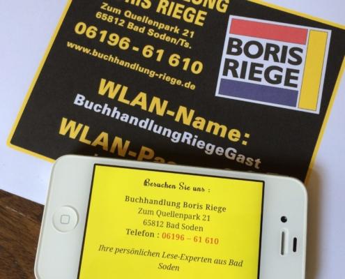 Freies WLAN bei der Buchhandlung Boris Riege - einfach nach dem Passwort fragen und los surfen.
