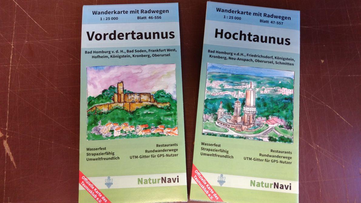 Neue Wanderkarten Vordertaunus und Hochtaunus - mit Radwegen - wasserfest - mit UTM Gitter für GPS - mit Restaurants - mit Rundwanderwegen