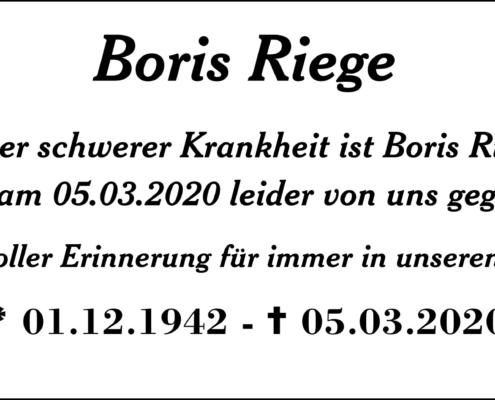 Boris Riege 1942 - 2020
